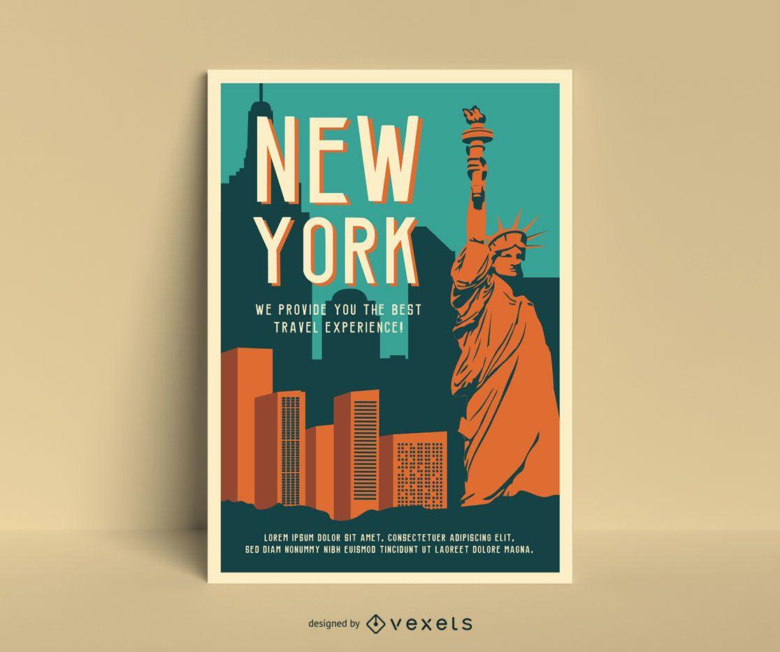 Plantilla de cartel vintage de nueva york