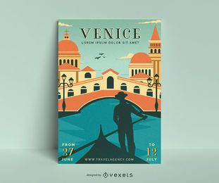 Venice vintage poster template