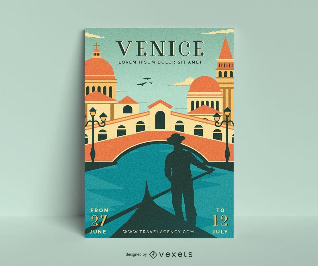 Plantilla de cartel vintage de Venecia