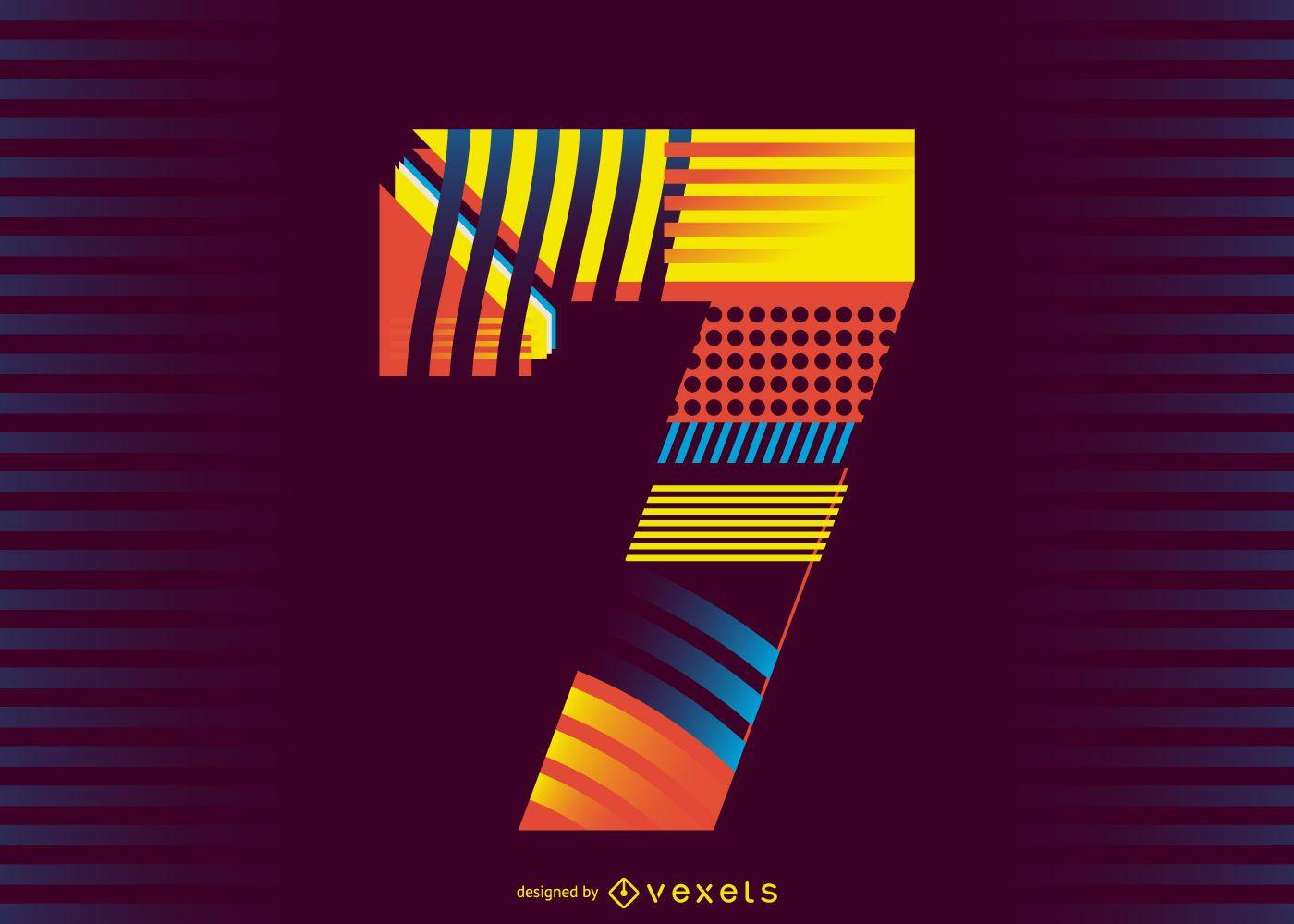 Number 7 retro illustration design