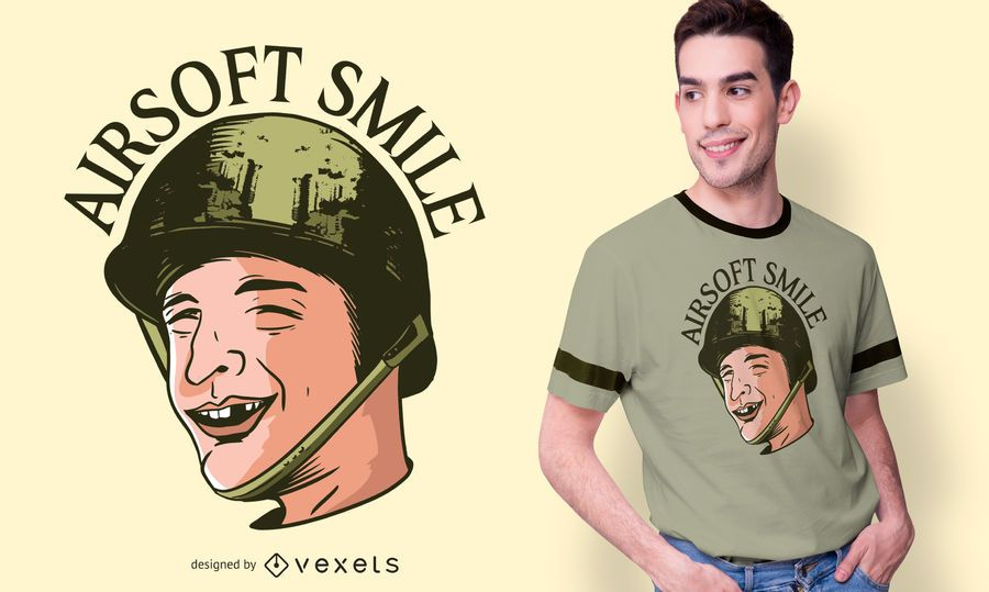 Funny Toothless Man Airsoft T-shirt Design
