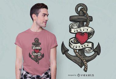 Design de camiseta com citações da âncora da velha escola