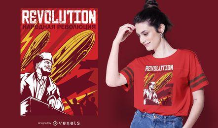 Design de t-shirt de cartaz de Lenin de revolução