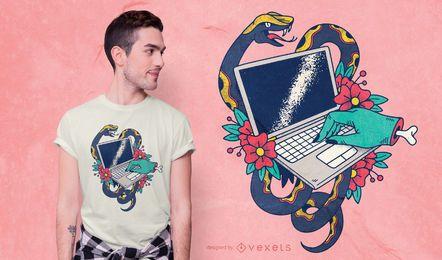Design de t-shirt de tatuagem de laptop
