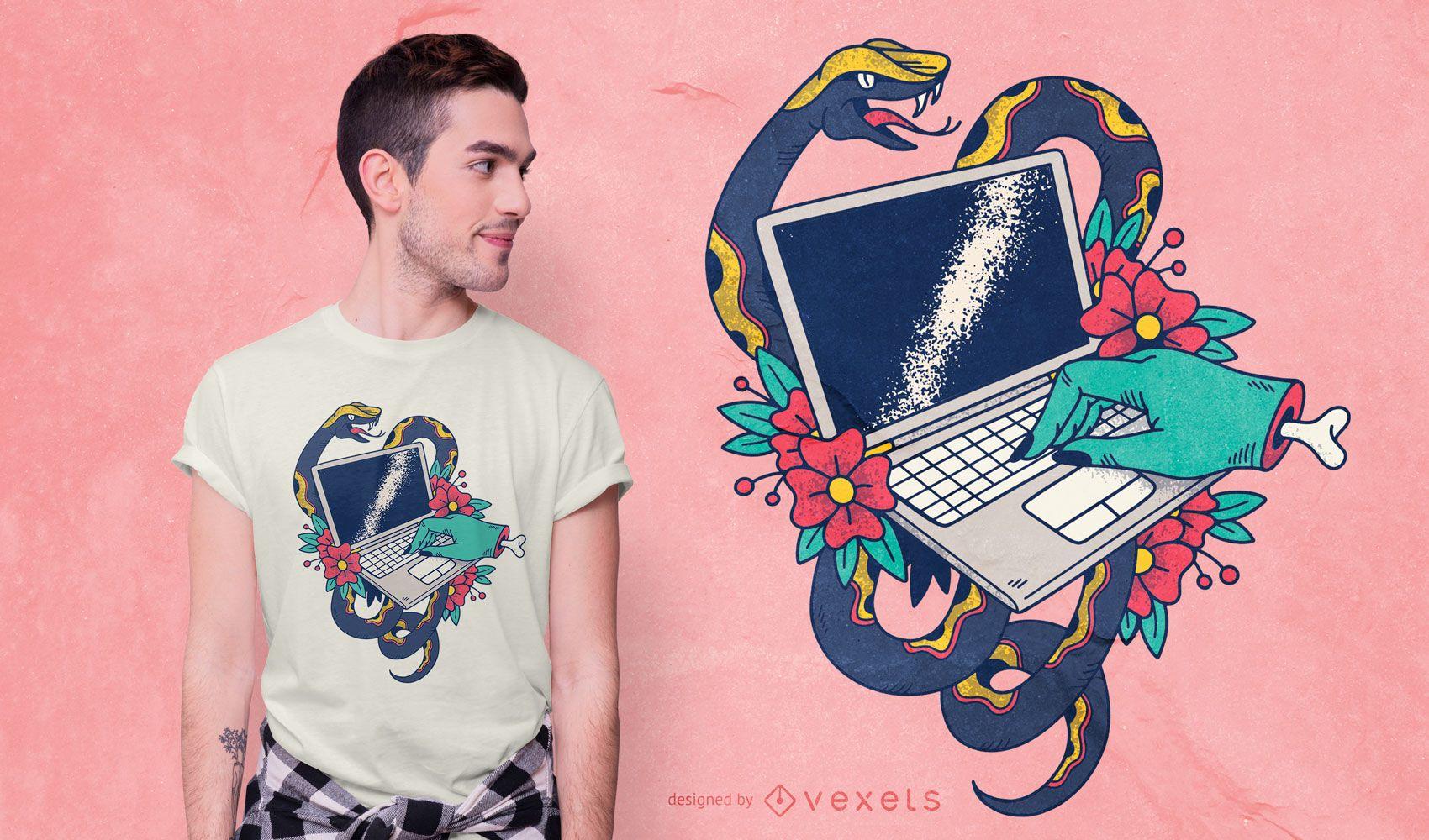 Laptop Tattoo T-shirt Design