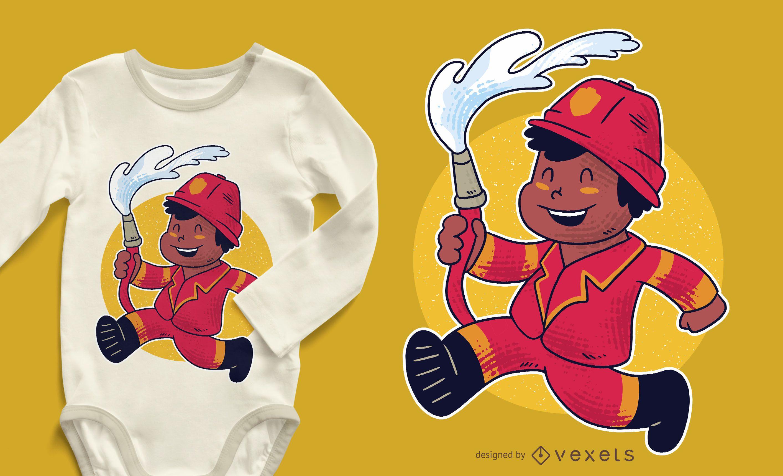 Firefighter Boy T-shirt Design