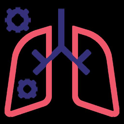 Covid 19 pulmones icono de trazo