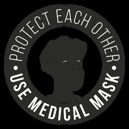 Covid 19 insignia de máscara médica
