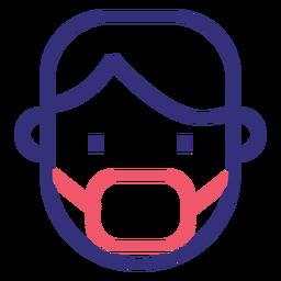 Covid 19 icono de trazo de máscara médica