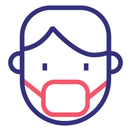 Ícone de traço de máscara médica Covid 19