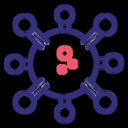Icono de trazo de molécula Covid 19