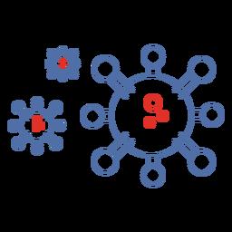 Covid 19 iconos de trazo de moléculas