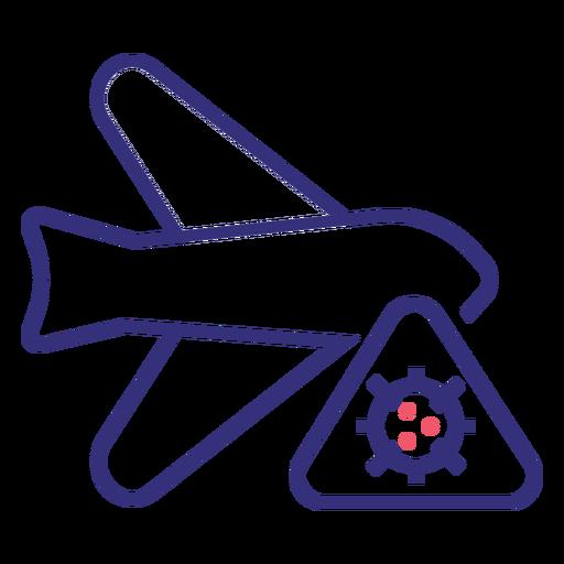 Icono de trazo de avión Covid 19
