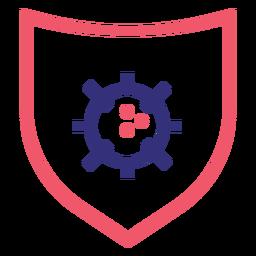 Covid 19 icono de trazo de escudo
