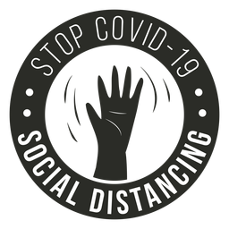 Covid 19 insignia de distanciamiento social