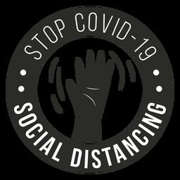 Covid 19 soziales Distanzierungsabzeichen