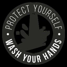 Covid 19 waschen Sie Ihre Hände Abzeichen