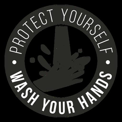 Insignia de Covid 19 lávate las manos