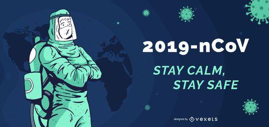 2019-nCoV manténgase seguro plantilla de banner