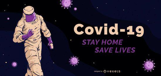Plantilla de banner de Covid-19 stay home