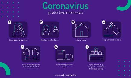 Plantilla infográfica de medidas de protección covid-19