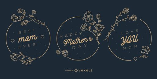 Mother's day badge set