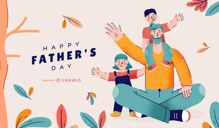 Desenho de ilustração de feliz dia dos pais