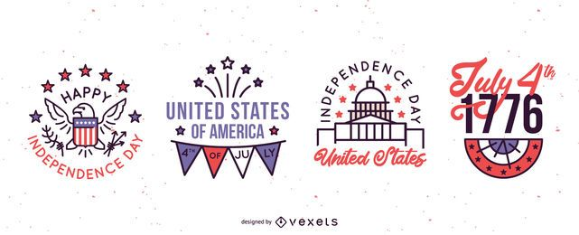 Independence day badges set