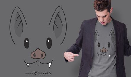 Diseño de camiseta Bat Face