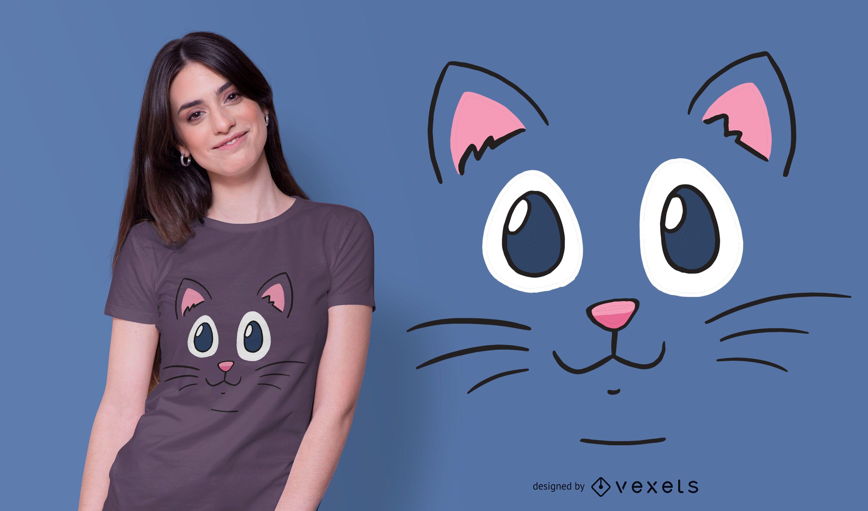 Diseño de camiseta Cat Face