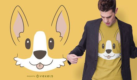 Design bonito do t-shirt da cara do Corgi