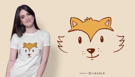 Projeto bonito do t-shirt da cara da raposa