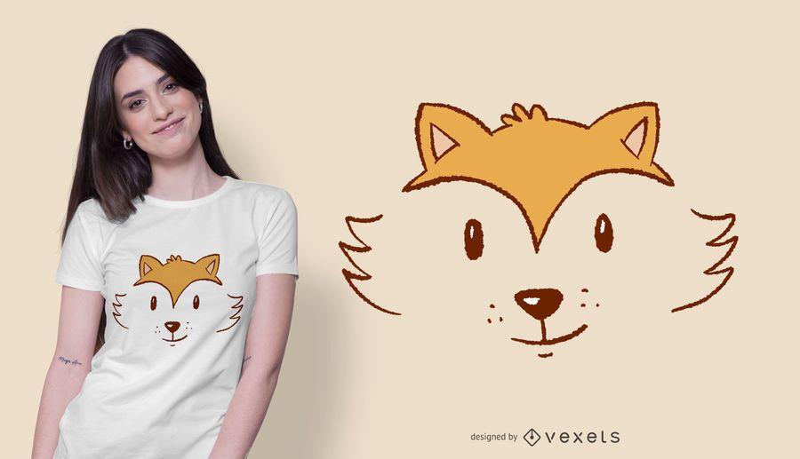Diseño lindo de la camiseta de la cara del zorro