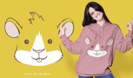 Diseño de camiseta de cara de conejillo de Indias