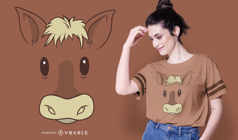 Diseño de camiseta de cara de caballo