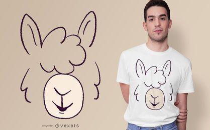 Design de t-shirt de rosto de lhama