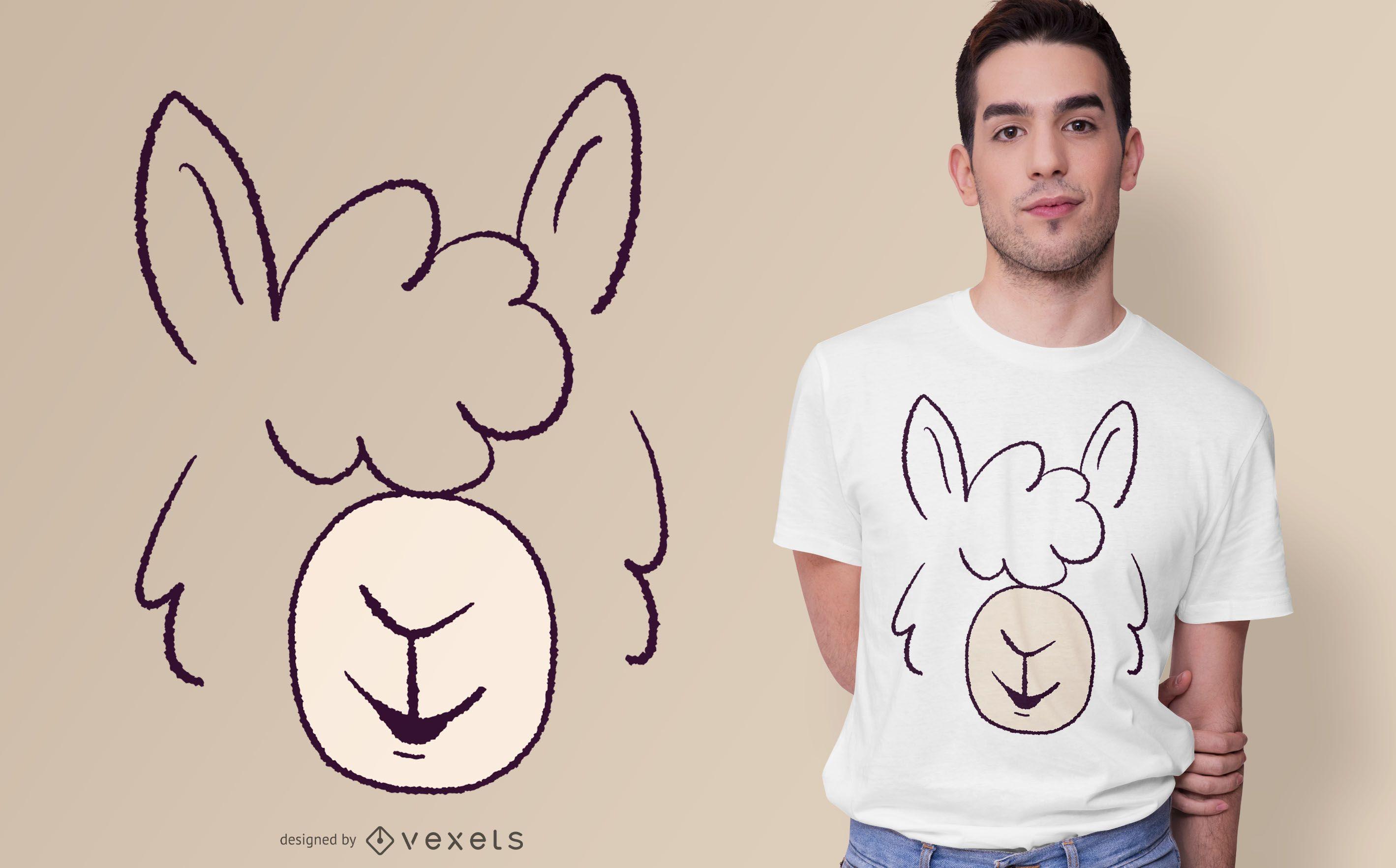 Diseño de camiseta Llama Face