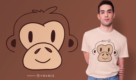 Design de camiseta de cara de macaco