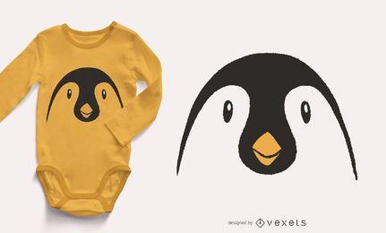 Projeto animal do t-shirt da cara do pinguim