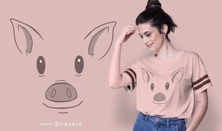 Design de t-shirt animal de cara de porco