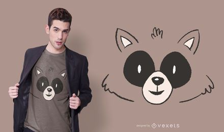 Design de t-shirt animal de cara de guaxinim