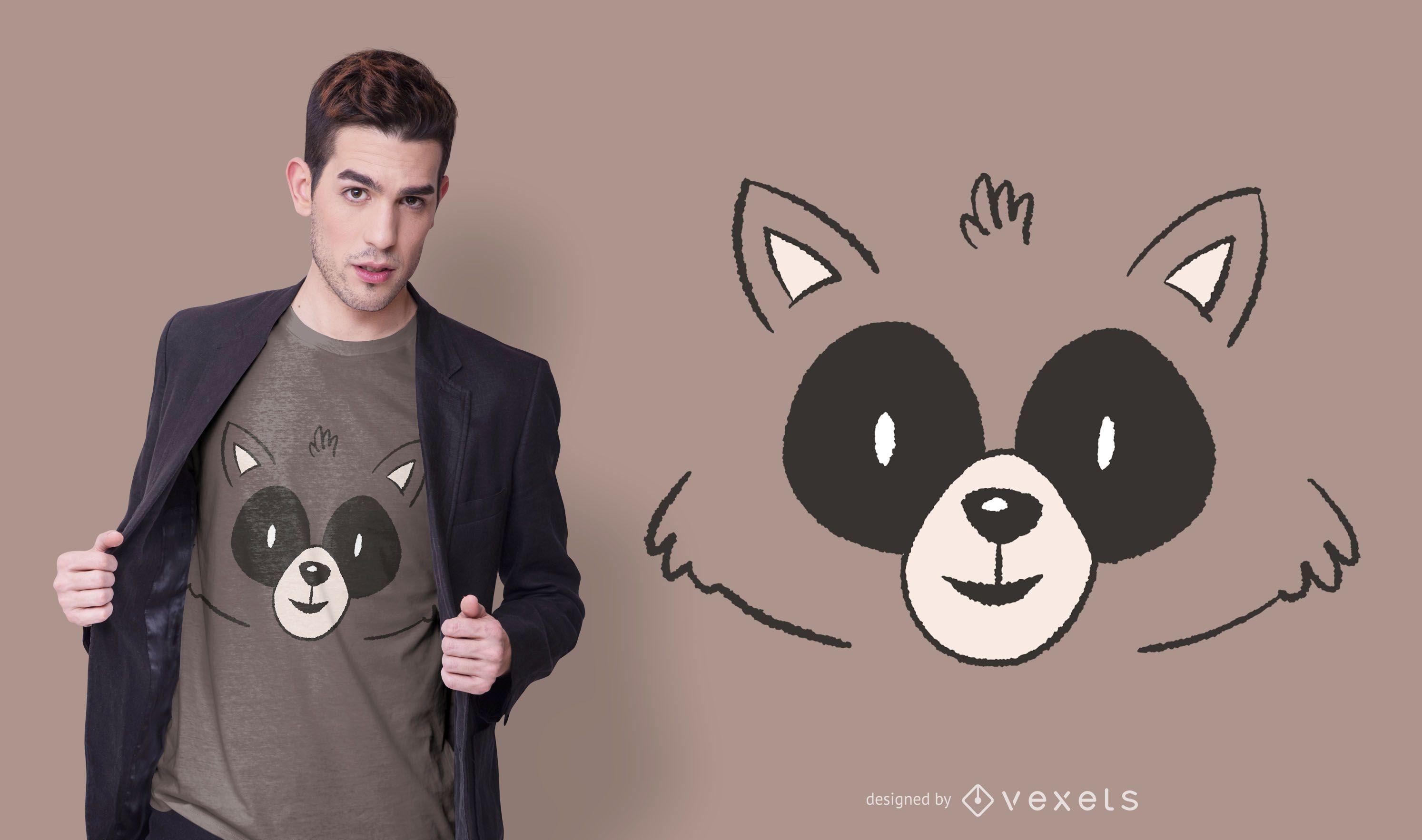 Diseño de camiseta Animal Raccoon Face