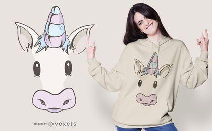Diseño de camiseta de cara de unicornio
