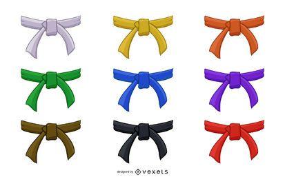 Coleção de cintos de judô