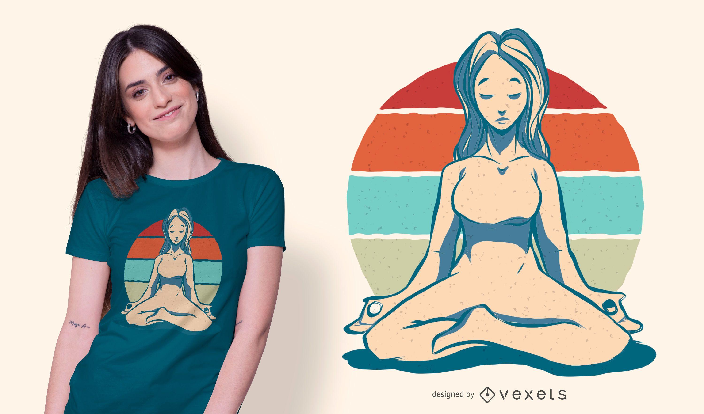 Meditation Girl Vintage T-shirt Design