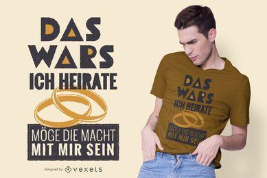 Divertido diseño de camiseta de matrimonio alemán