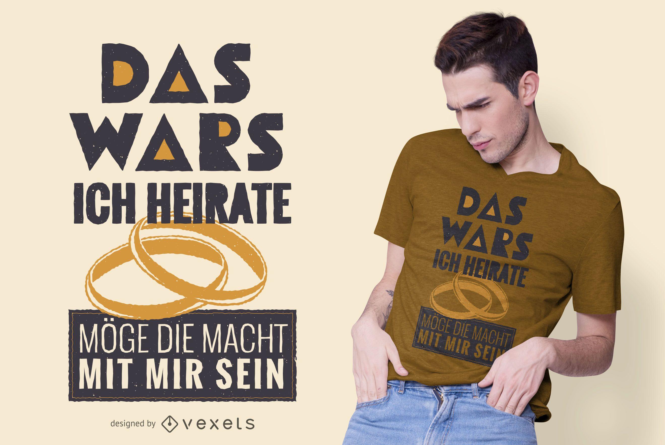 Design engraçado de camiseta de casamento alemão