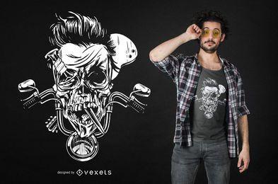Diseño sombrío de la camiseta del cráneo del motorista