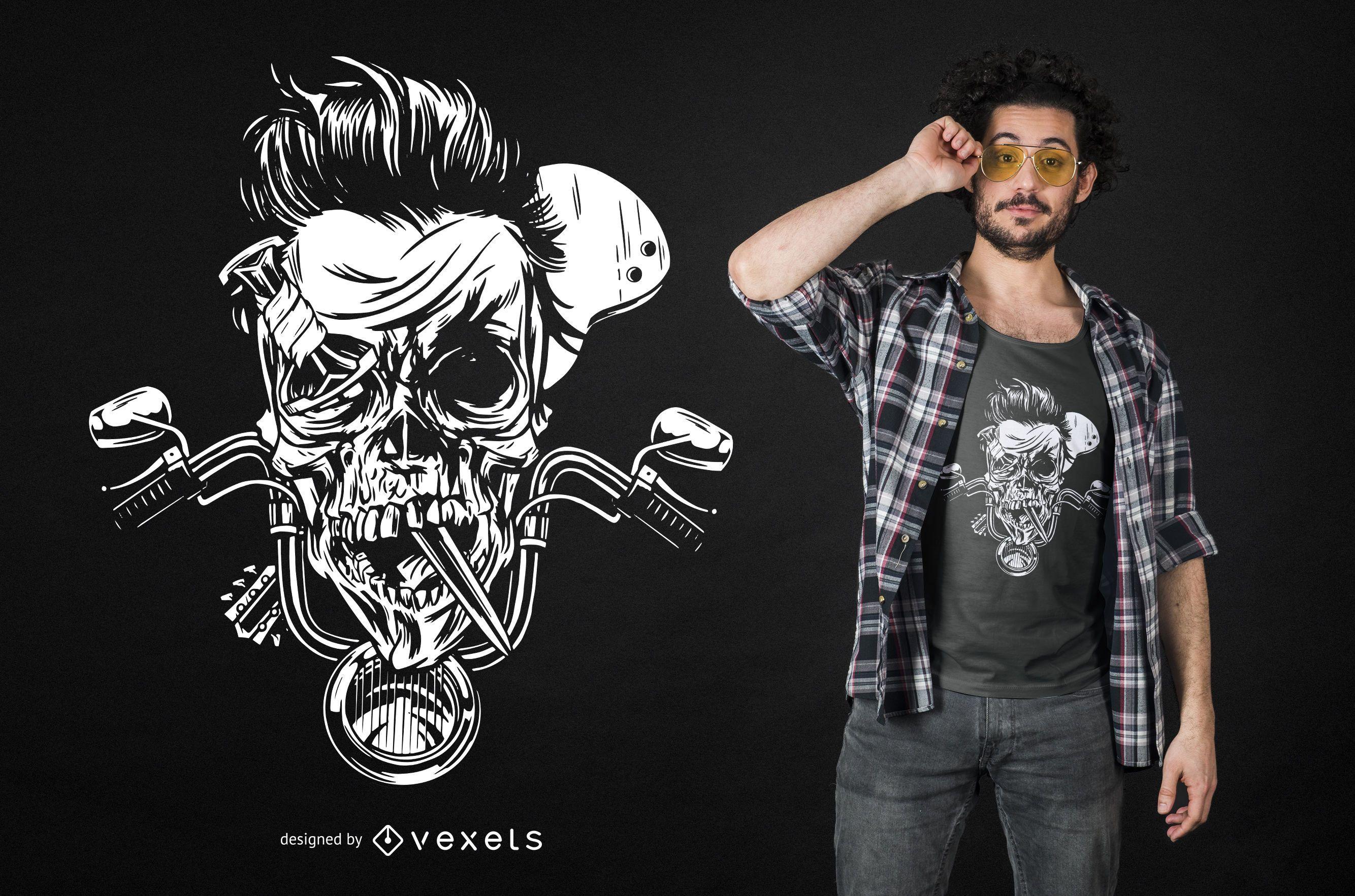 Design de camiseta com crânio de motociclista sombrio