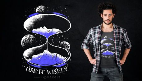 Diseño de camiseta de cita de reloj de arena espacial
